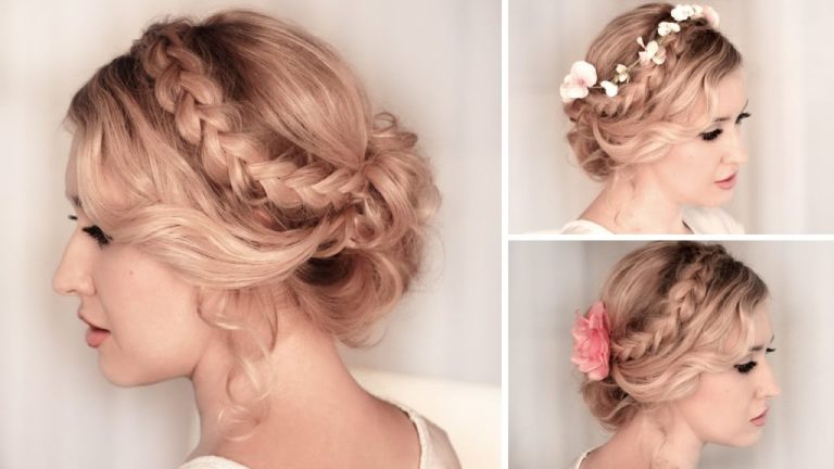 braided-updo-hairstyle-for-medium-hair-with-flowers