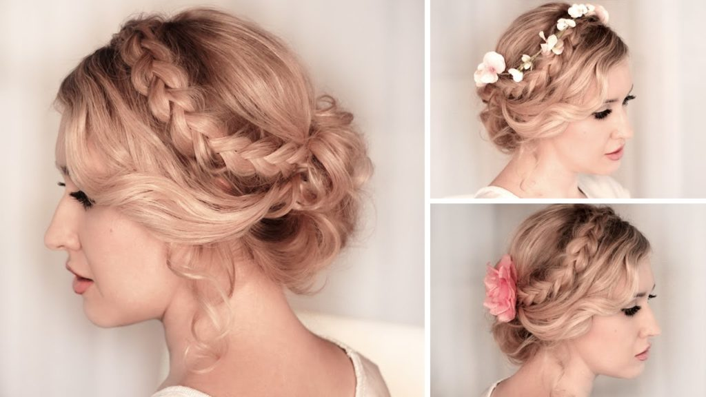 Braided Updo Hairstyle for Medium Hair With Flowers