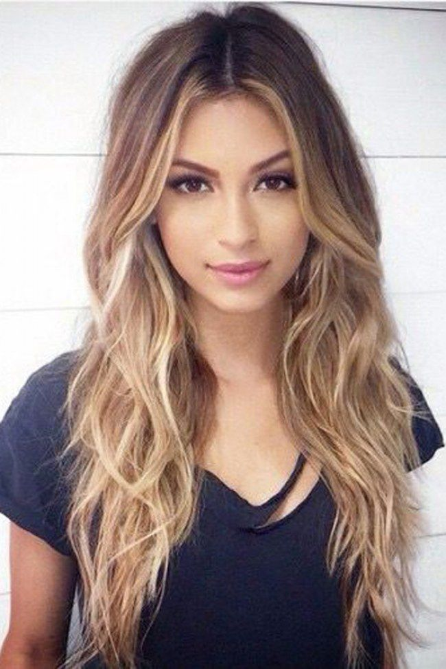 Layered Center Part Hairstyle for Long Hair