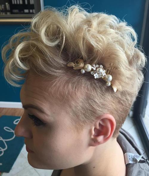 Short Curly Undercut Wedding Hairstyle
