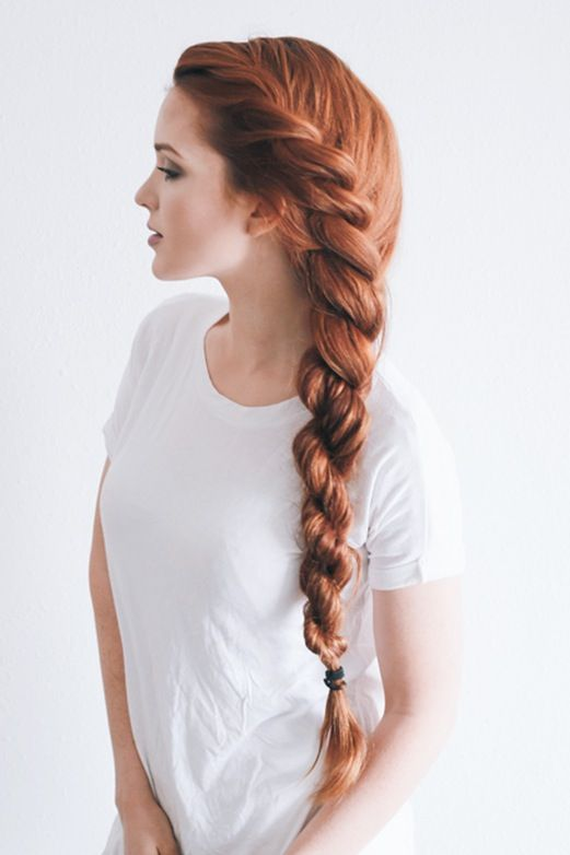 Side Swept Long Rope Braid Hairstyle