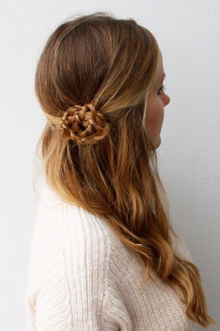 Half Updo with Flower Braid