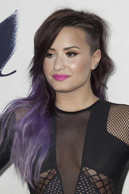 Purple Ombre Undercut with Waves