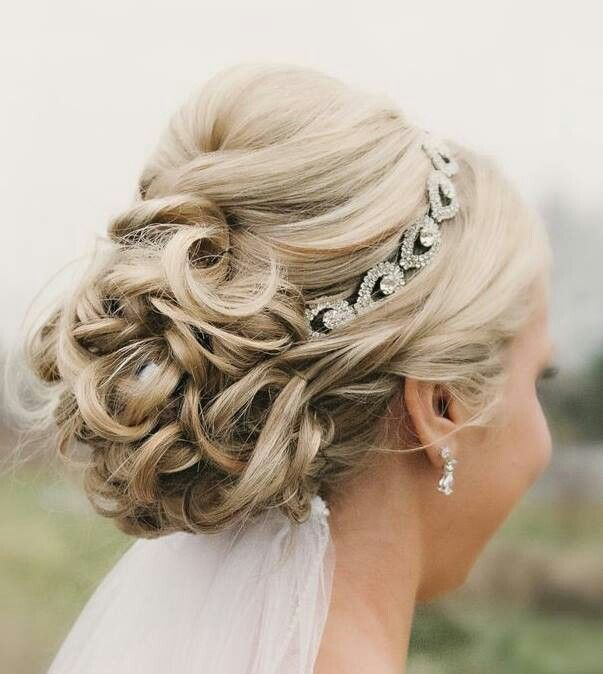 Bridal Updos for Medium Hair with Shinny Headband