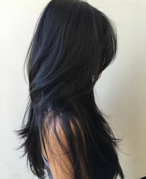Long Black Layered Hairstyle