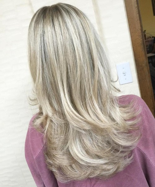 Long Blonde Haircut with Layers