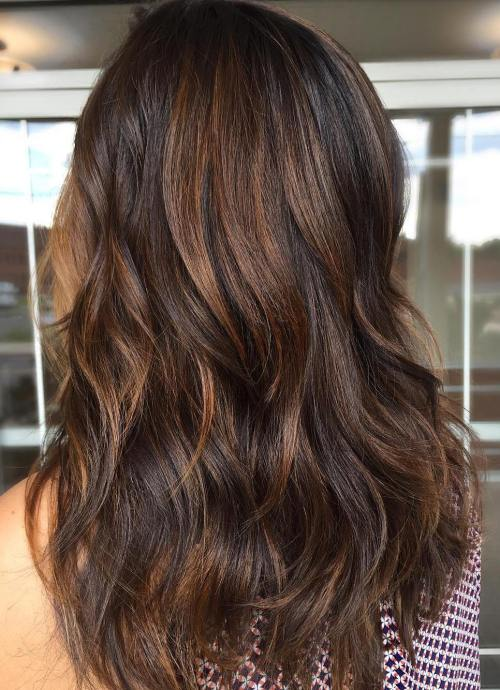 Long Layered Hair with Light Brown Highlights
