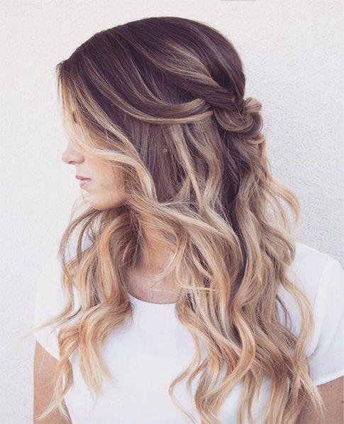 Half Up Balayage Hair