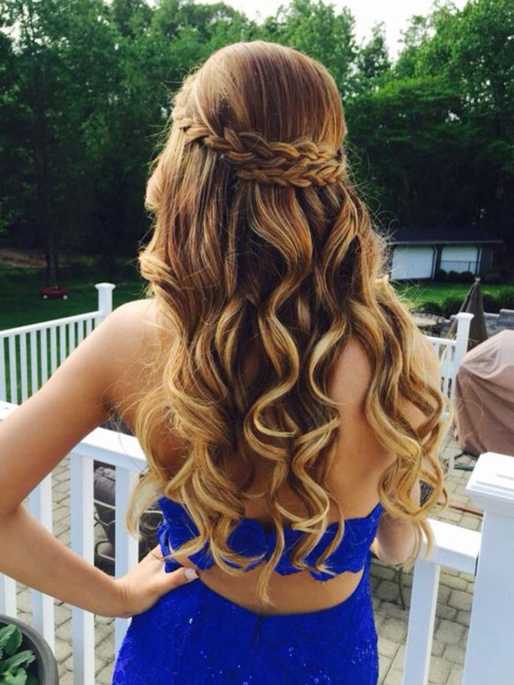 Crown Braided Long Hair with Blonde Highlights