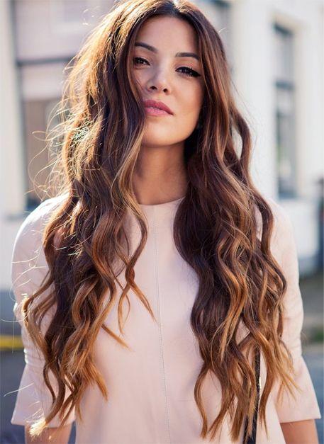 Middle Parting Brunette Golden Hair