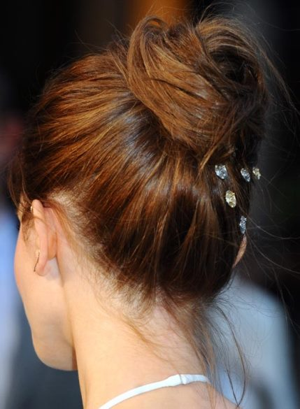 Casual High Folded Updo with Embellishments