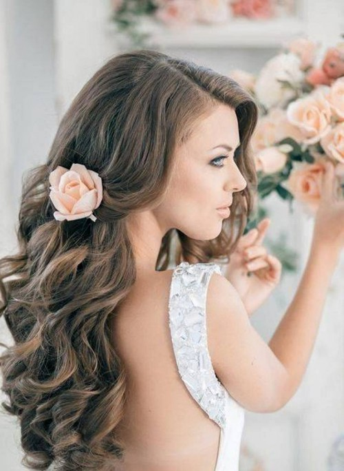 Side Swept Hair with Curls