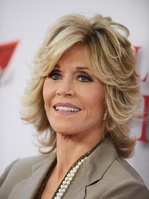 Jane Fonda with a layered bob haircut perfect for over 40