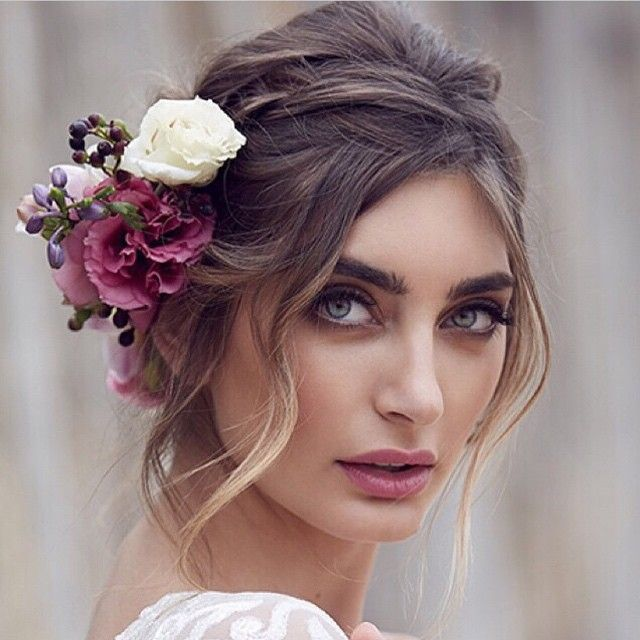 Bohemian Hair Updo with Flowers