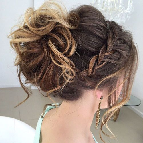 Braided Messy Curled Updo