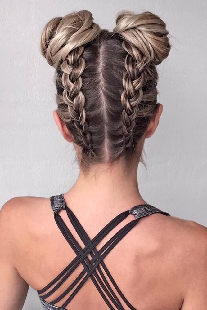 Double Bun with Upside down Dutch Braid
