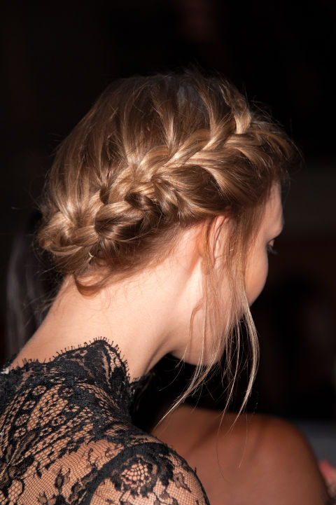 Low Chignon with French Braid