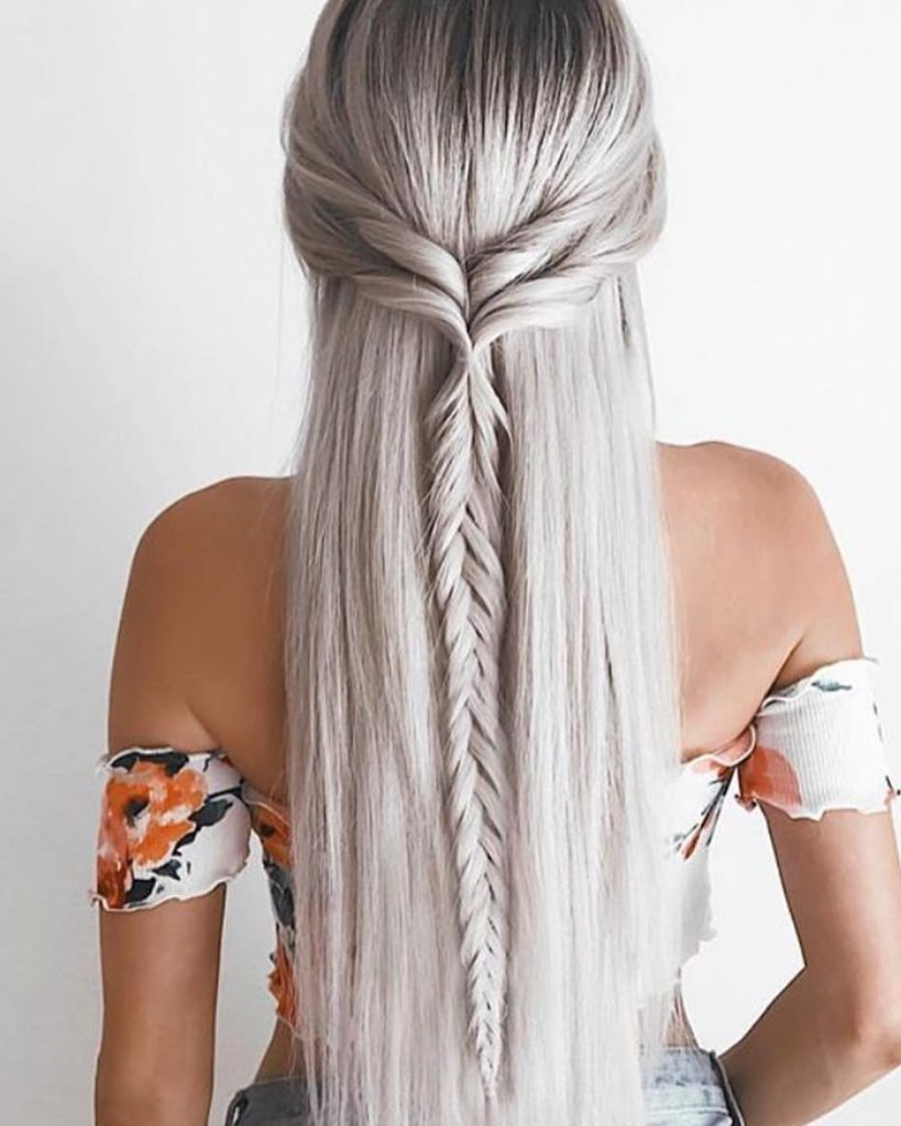 Platinum Blonde Braided Long Hair