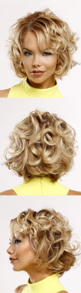 Short Curly Hairstyle with Side Swept Bangs