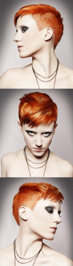 Red Undercut Straight Pixie Cut