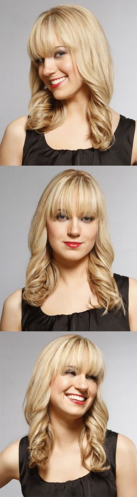 Long Blonde Hair with Curls and Bangs