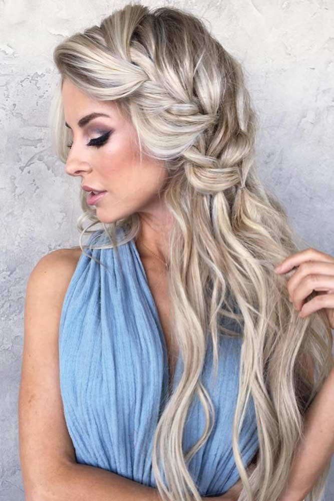 Side Braided Long Blonde Hairstyle