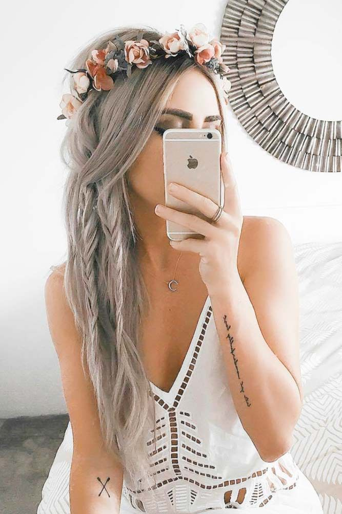 Grey Hair with Double Fishtail Braids