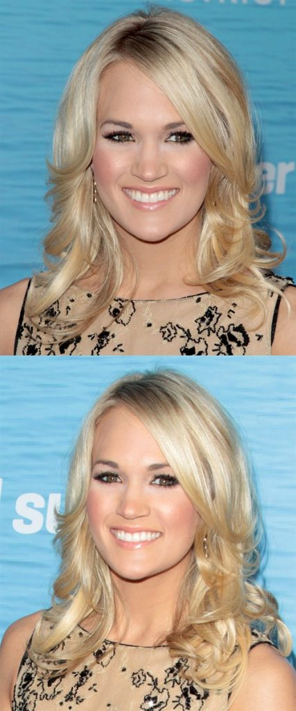 Medium Wavy Blonde Hair with Side Bangs