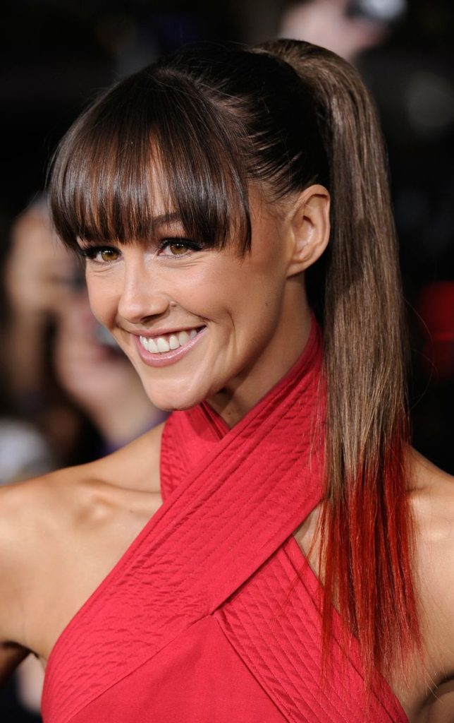 Bangs with Sleek Straight Ponytail