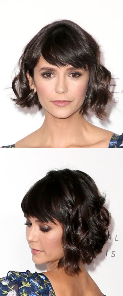 Dark Brunette Wavy Bob with Side Swept Bangs