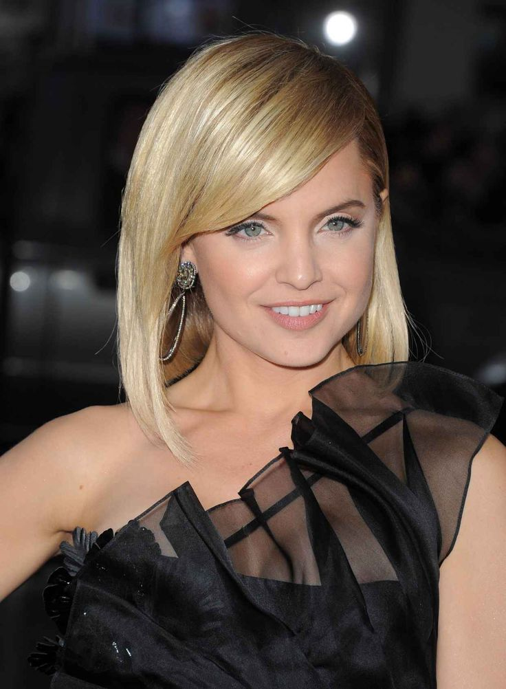 Medium Blonde Hair with Side Swept Bangs