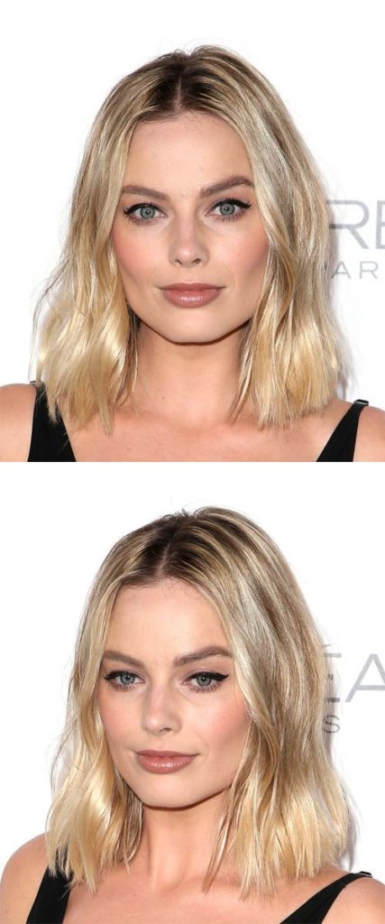 Medium Wavy Light Blonde Bob Hairstyle