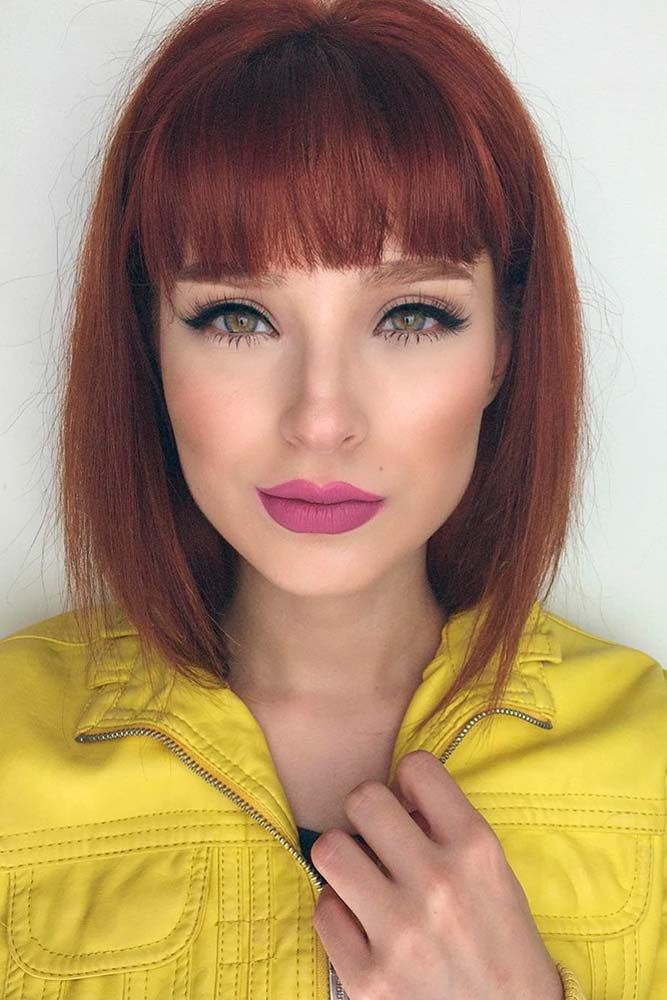 Straight Red Bob with Bangs