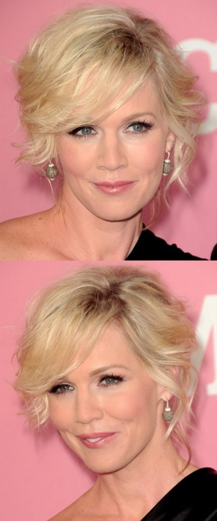Short Blonde Wavy Hair with Layered Side Bangs