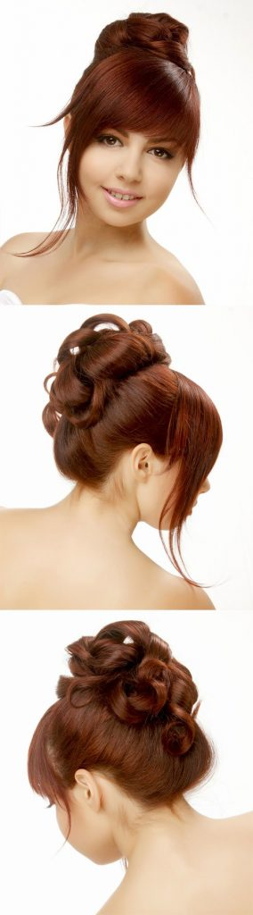 Long Updo Hairstyle with Blunt Cut Bangs