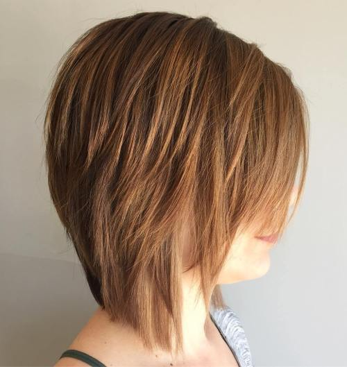 Side Parted Shaggy Layered Bob