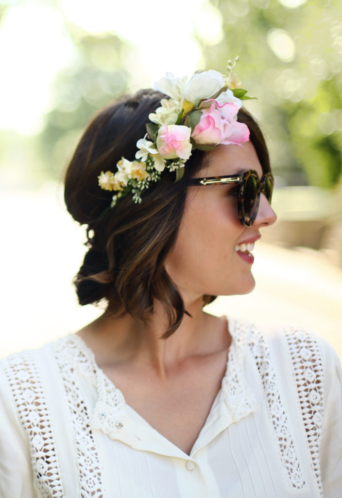 Short Hair with Floral Tiara