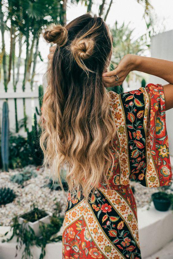 Half Up Boho Space Buns
