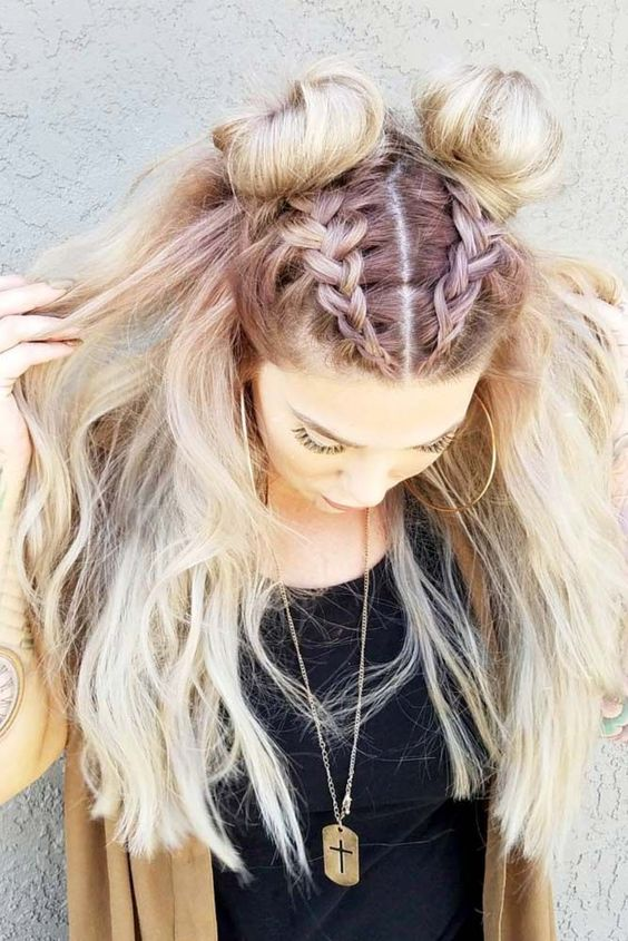 Dutch Braids Double Buns