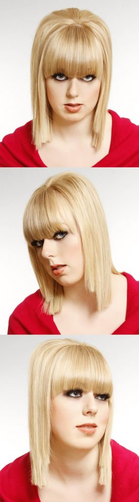 Medium Straight Blonde Hair with Blunt Bangs