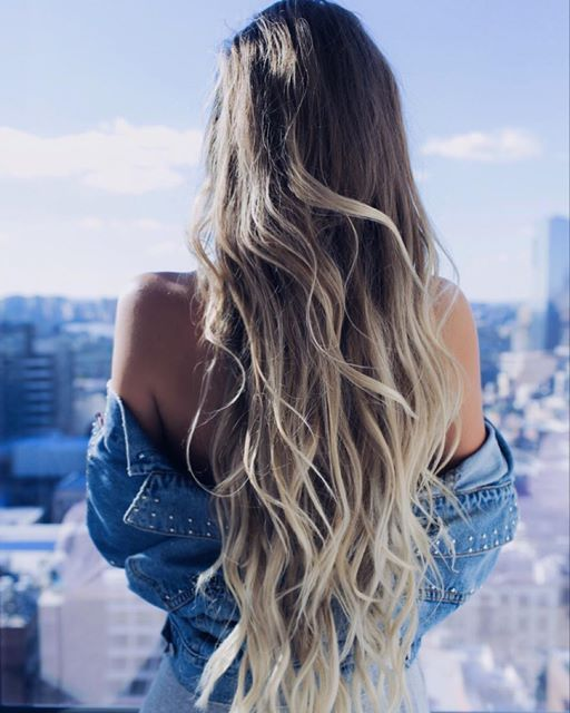 Long Blonde Hair with Natural Waves