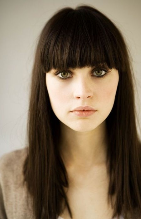 Felicity Jones Blunt Bangs Hairstyle