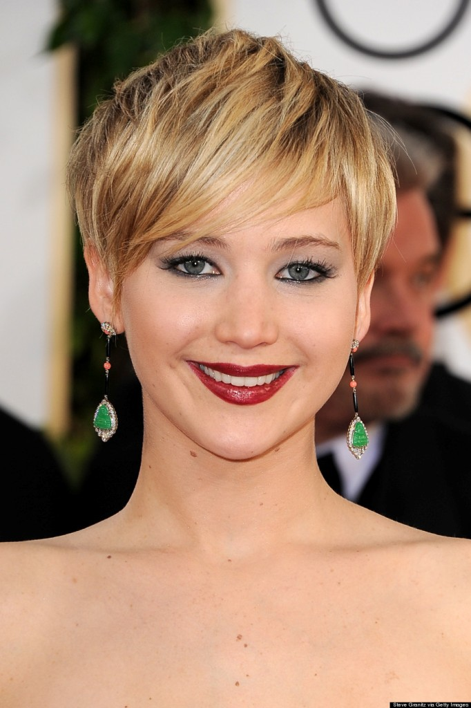 Jennifer Lawrence Spiky and Sweeping Short Bang Haircuts