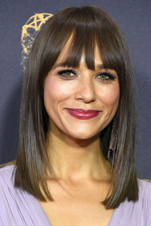 Medium Straight Hairstyle With Bang