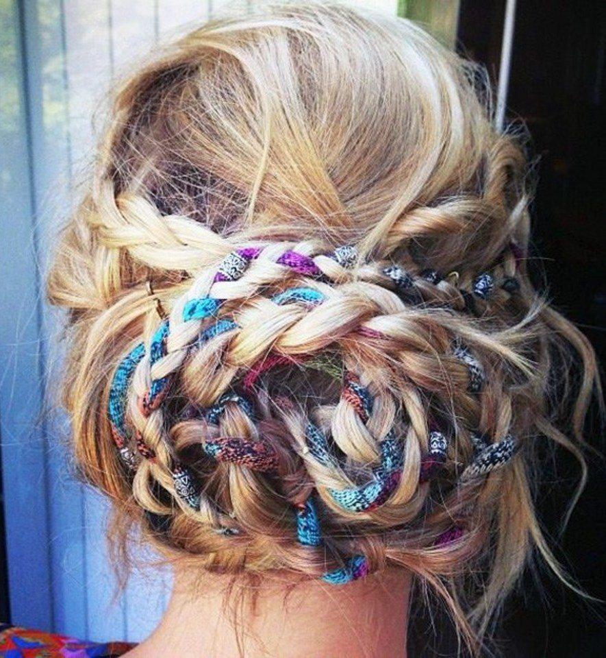 Ribbon Braided into Hair