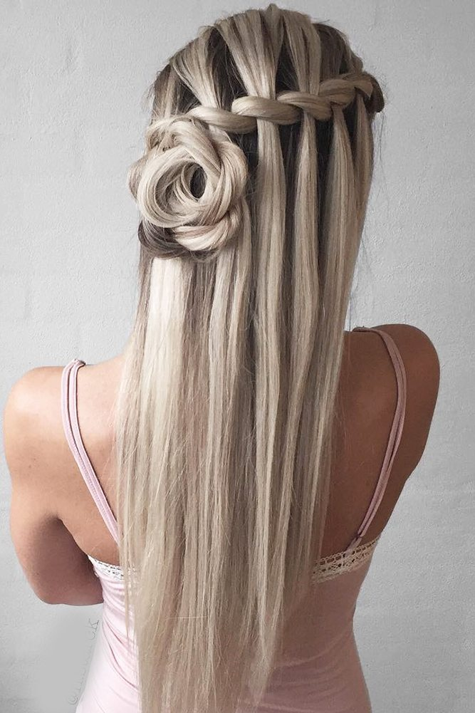 Waterfall Braid with Rosette Bun