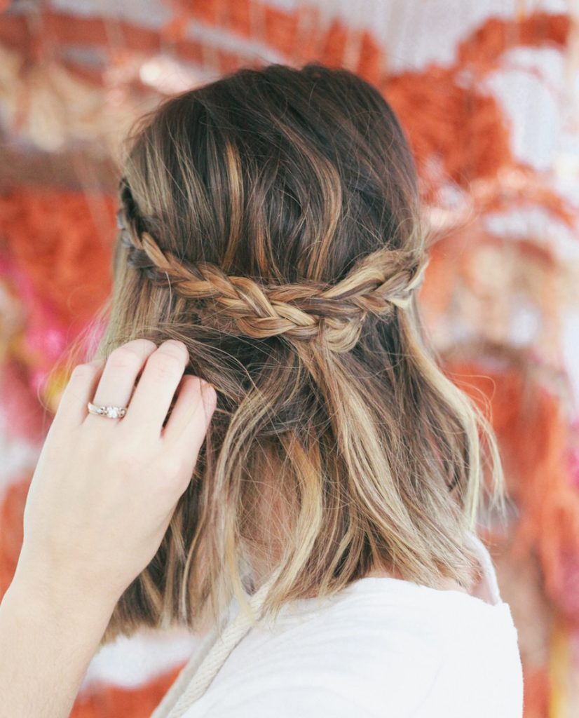 Half Up Braided Crown Short Hair