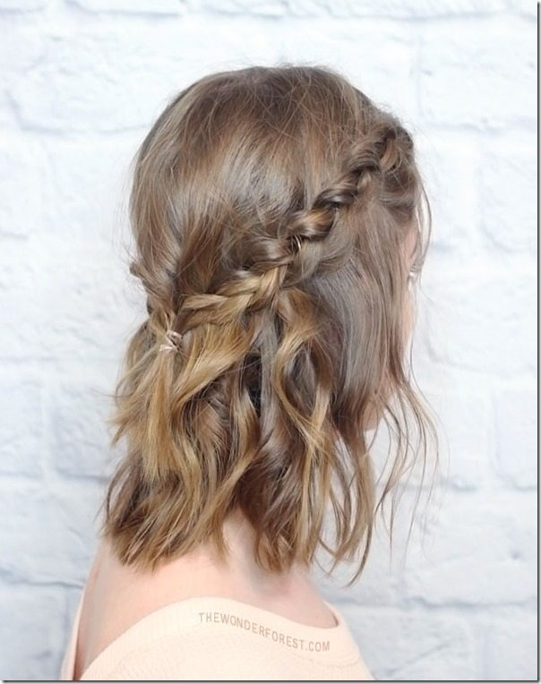 Messy Crown Braid for Medium Hair