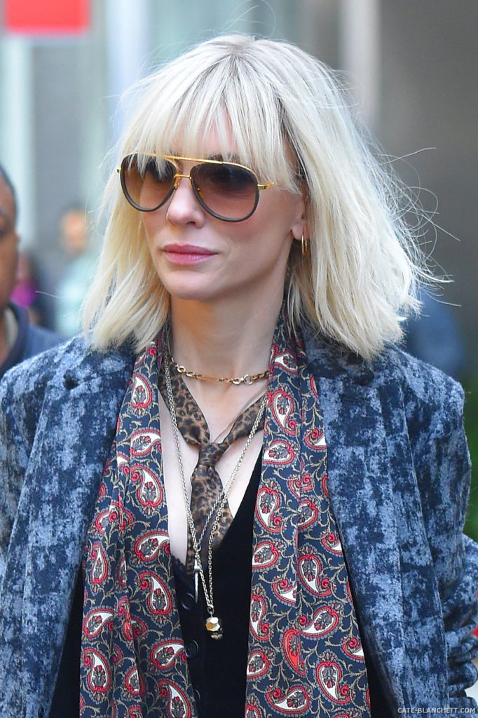 Cate Blanchett' Platinum Blonde Hair with Bangs