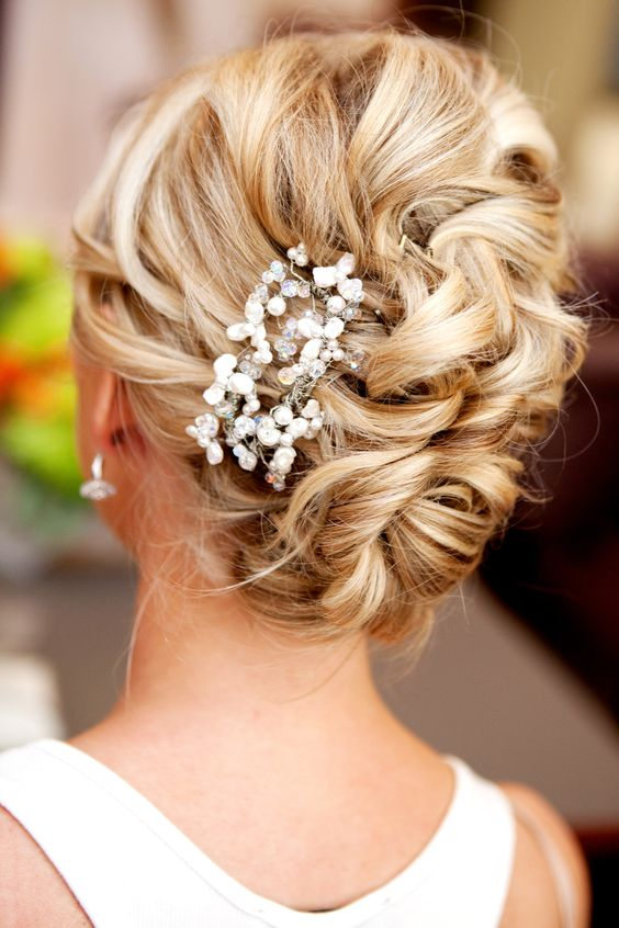 Messy Side French Bun with Hair Accessory